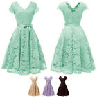 Women's Retro Floral Lace Bridesmaid Dress Cocktail Formal Swing Party Dresses