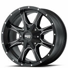 4 set 17x8 Moto Metal Wheels MO970 Black Milled Off Road Rims AD