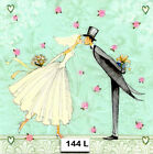 144 TWO Individual Paper Luncheon Decoupage Napkins BRIDE GROOM WEDDING LOVE