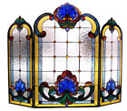 Tiffany Style Fireplace Screen Victorian Design Stained Glass 3 Section 31 X 40