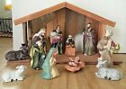 Christmas Holiday 12 Piece Porcelain Nativity Set w Wooden Creche