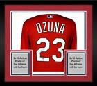 Framed Marcell Ozuna St. Louis Cardinals Autographed Majestic Red Replica Jersey