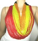 Exceptional OVERSIZED Fire Tri Color Micro GLASS Seed Bead Runway Necklace
