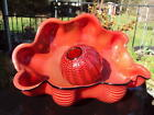 Chihuly Chinese Red Seaform Pair Glass Sculpture 1995 Signed Display ID41497