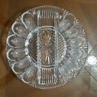 Vintage LE Smith Heritage Clear Glass Deviled Egg Relish Dish Plate Platter