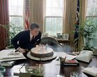 President Ronald Reagan blows out candles on birthday cake 1982 8x10 Photo
