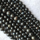 High Quality Natural Genuine Black Astrophyllite Round Loose Stone Beads 4 12mm