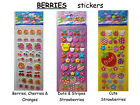NEW BERRIES  FRUIT Puffy STICKERS Strawberries Cherries  YOU CHOOSE DESIGN