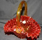 FENTON Amberina Ruffled Edge Hobnail Basket Approx 75 x 7 x 55 at it widest