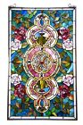 Tiffany Style Stained Glass Window Panel Floral Medallion Design 20 W X 32 L