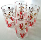 Federal, Mid Century, Clear Glass Tumblers with Gold and Red Roosters, Set of 4