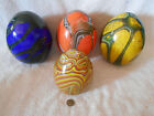 4 Hand Blown Hollow Polished Pontil Art Glass Swirl Eggs 3 are 7inch and a 5inch