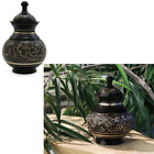 Pet Cremation Urn Small Dog Cat Brass Black Lacquer Hand Engraved 25 Cubic Inch