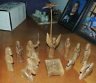 Vintage 13 PIECE WOOD NATIVITY Hand Carved Complete SET 5 TALL Free Shipping