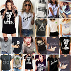 Women Summer Casual Short Sleeve Loose T shirts Blouse Letter Printed Tee Top US