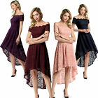 Women Lace Dress Off Shoulder A-Line High Low Formal Evening Party Wedding Prom