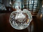 Vintage Pairpoint Glass CONTROLLED BUBBLE APPLE Paperweight Applied Leaf Clear