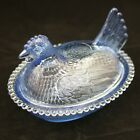 Vintage INDIANA Covered BLUE Glass HEN onNest CHICKEN Dish BEADED 7 HON Nesting