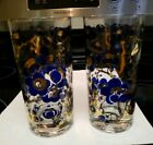 2 Rare Fred Press Blue Flower Peony Gold Vintage Mid Century Tumbler Glass