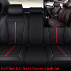 6D Black Microfiber Leather Full Surround Car Seat Cover Cushion Set For 5 Seat