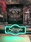 LARGE STURGIS MOTORCYCLE RALLY NEON SIGNN MATCHING SET WITH METAL SIGNN