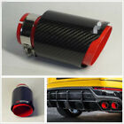 Sport Style Carbon Fiber Glossy BlackRed 63mm In 89mm Out Exhaust Muffler Pipe