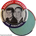 1960 John Kennedy JFK Johnson Vote Democratic Jugate Campaign Pin Pinback Button