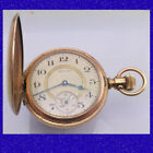 Stunning 10k Gold Waltham 7 Jewel Hunter Gold  Silver Dial Pocket Watch 1930