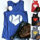 Summer Women Heart Printing O Neck Tank Top Fitness Gym Vest Casual Graphic Tees