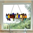 Stained Glass Window Panel Birds On A Wire Colorful Hanging Sun Catcher Decor