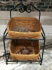 Longaberger Wrought Iron Little Bin Basket Stand and Baskets With protectors Set
