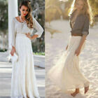 Women Double Lace Layer Chiffon Pleated Long Maxi Dress Elastic Waist Skirt S-XL