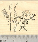 Halloween Witch Rubber Stamp Broom Crashed into Tree K25416 WM