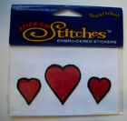 Red Hearts embroidered scrapbook sticker Acid free Self Adhesive