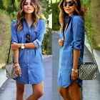 HOT Women's Blue Jeans Denim T-Shirt Long Sleeve Casual Loose Shirt Mini Dress