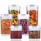 6 Piece Airtight Food Storage Containers Set Clear Containers with White Lids