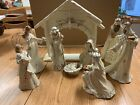 American Greetings Nativity Set Resin Wood Look Rustic Creche Figures 9 pieces