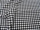Fabric Printed Liverpool Textured Stretch Small Houndstooth Black White I202