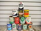 VINTAGE LOT OF 13 1 QUART OIL CANS METAL NR! MOBIL TEXACO PHILLIPS 66 MORE!