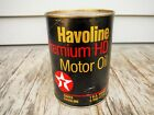 VINTAGE 1 QUART TEXACO HAVOLINE HD MOTOR OIL CAN FULL NICE NR! MAN CAVE!