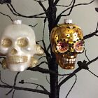 Radko Shiny Brite Skeleton Skulls Halloween Ornament New Set Of 2