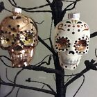 Radko Shiny Brite Day Of The Dead Skulls Halloween Ornament New Set Of 2