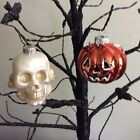 Christopher Radko Shiny Brite Pumpkin & Skull Glass Halloween Ornament NEW