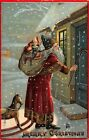 LP37 Santa Claus Christmas Postcard Interesting image hobby horse gift