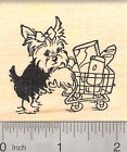 Yorkshire Terrier Dog Rubber Stamp Yorkie with Grocery Shopping Cart J23208 WM