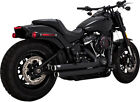 Vance and Hines Black Big Shots Staggered 2 2 Exhaust Pipes Harley Softail 18+