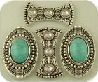 Faux Turquoise Beads Concho Ovals  Spacers Renaissance 2 Hole Sliders QTY 4