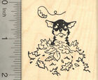 Chihuahua Dog Rubber Stamp in Autumn Leaves J22613 WM