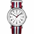 Timex T2N746, Unisex Weekender Striped Fabric Watch, Indiglo