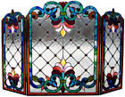 Tiffany Style Stained Cut Glass Handcrafted Fireplace Screen 28 Tall x 44 Wide
